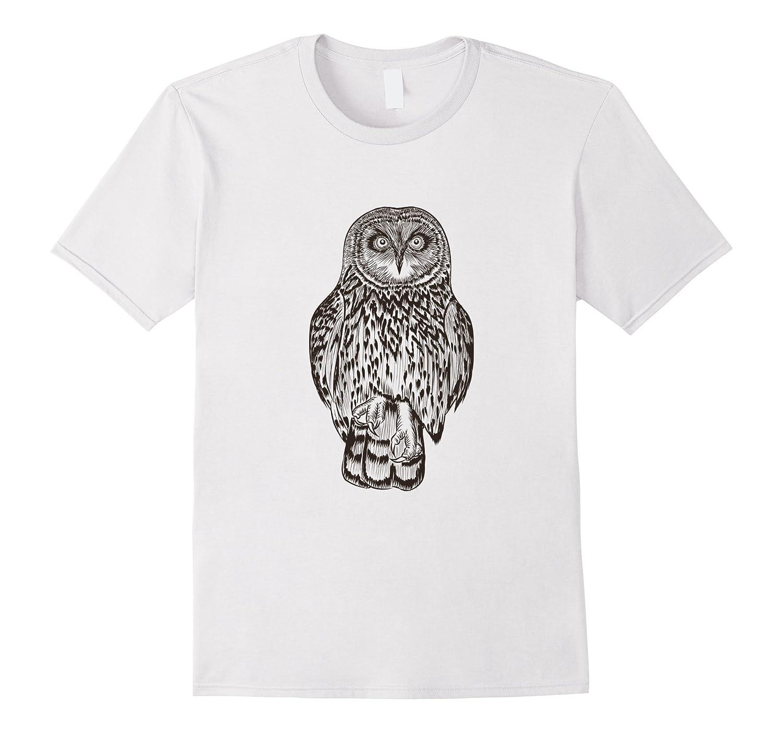 Barn Owl Line Art Print Short Sleeve T-Shirt Christmas Gifts-AZP