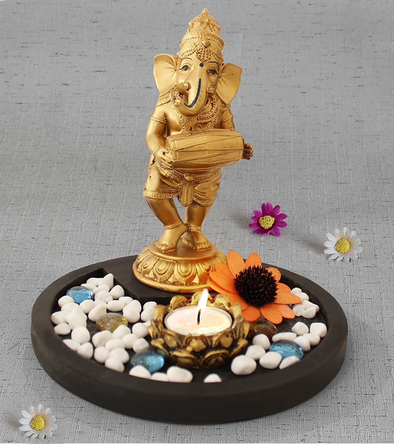 TIED RIBBONS Ganesh Statue Playing Dholak Figurine with Tealight and Stones on Wooden Tray Center Piece - Ganesha Decorative Item for House Warming Home Decoration