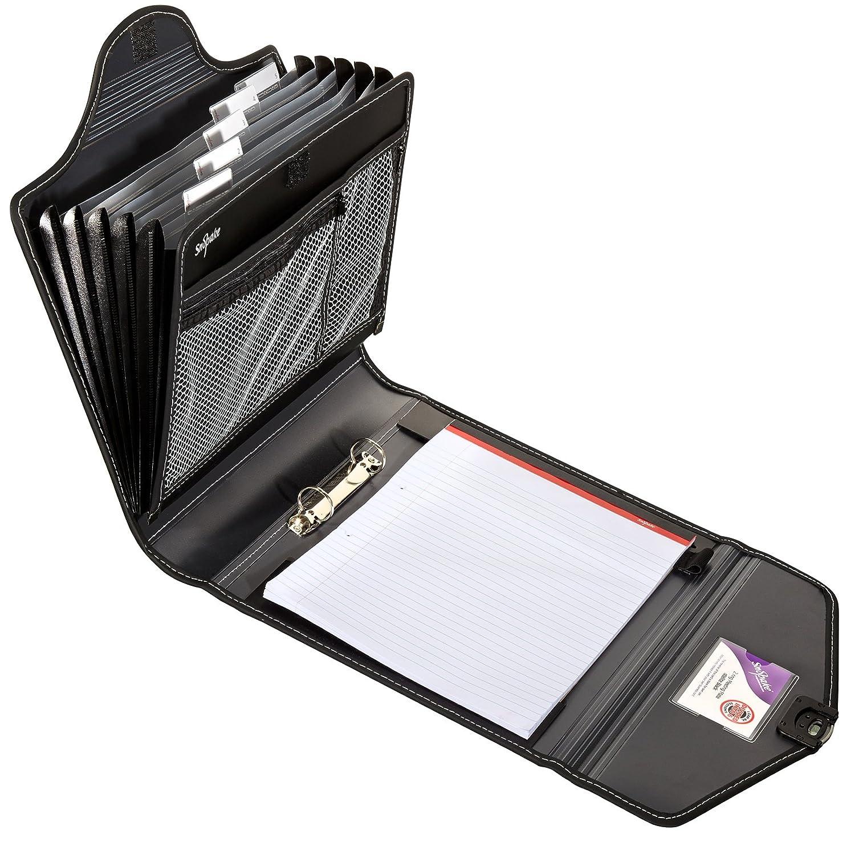 color negro Portafolios para reuniones Snopake 15303 A4, incluye archivador de 25 mm con 2 anillas, clasificador con 6 compartimentos y libreta