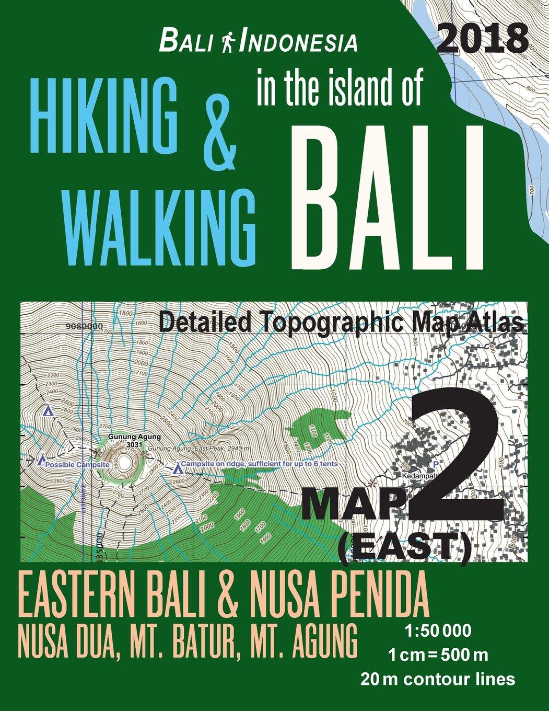 Bali Indonesia Map 2 East Hiking Walking In The Island