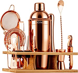 Soing 11-Piece Rose Copper Bartender Kit,Perfect Home Cocktail Shaker Set for Drink Mixing,Stainless Steel Bar Tools with Stand,Velvet Carry Bag & Cocktail Recipes Cards (Rose Copper)