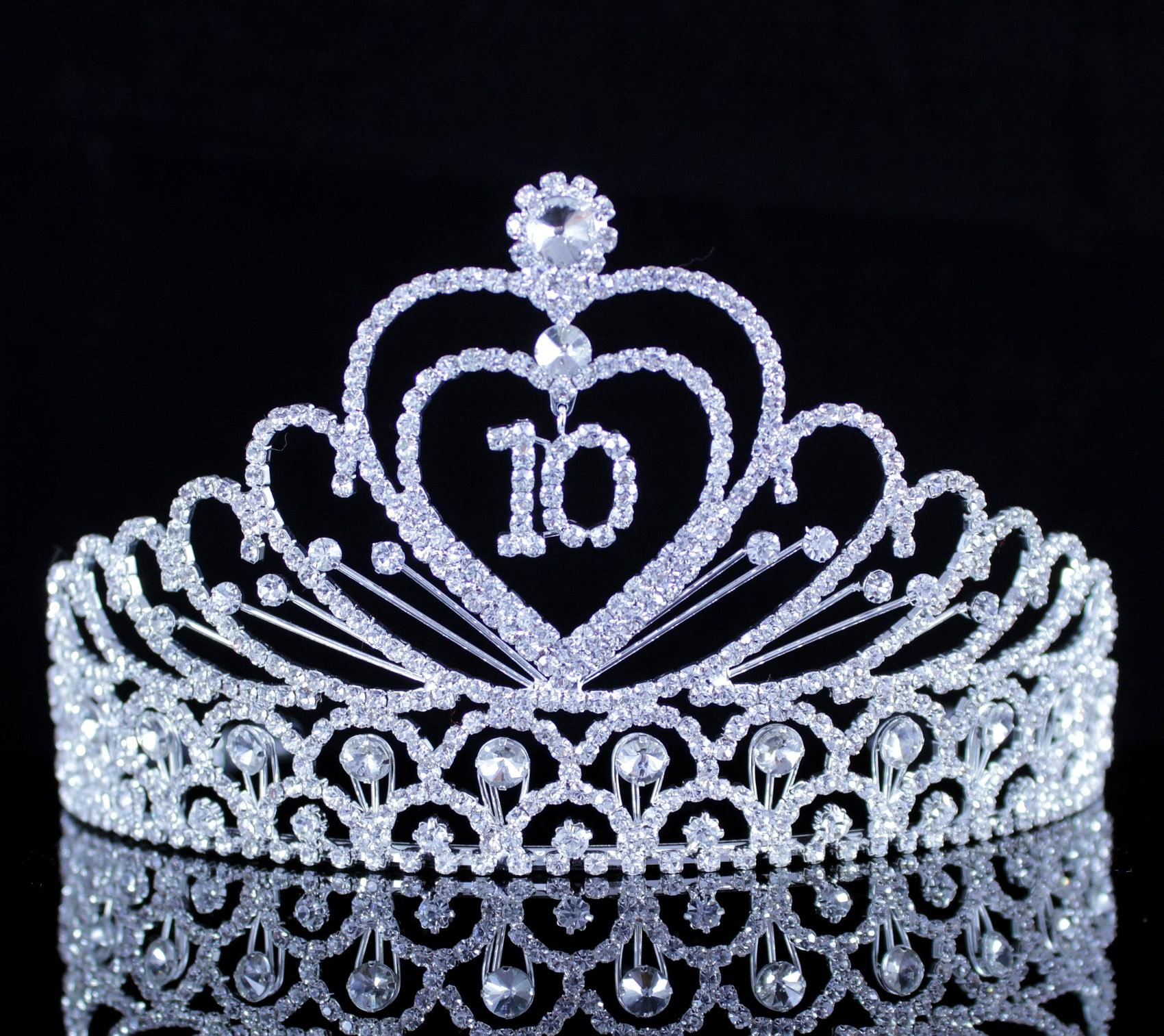 Janefashions Ten Years Old 10-Year-Old 10th Birthday Party Clear White Austrian Rhinestone Metal Girl Girl's Princess Tiara Crown With Hair Combs Jewelry Headband Headpiece T890 Silver by Janefashions