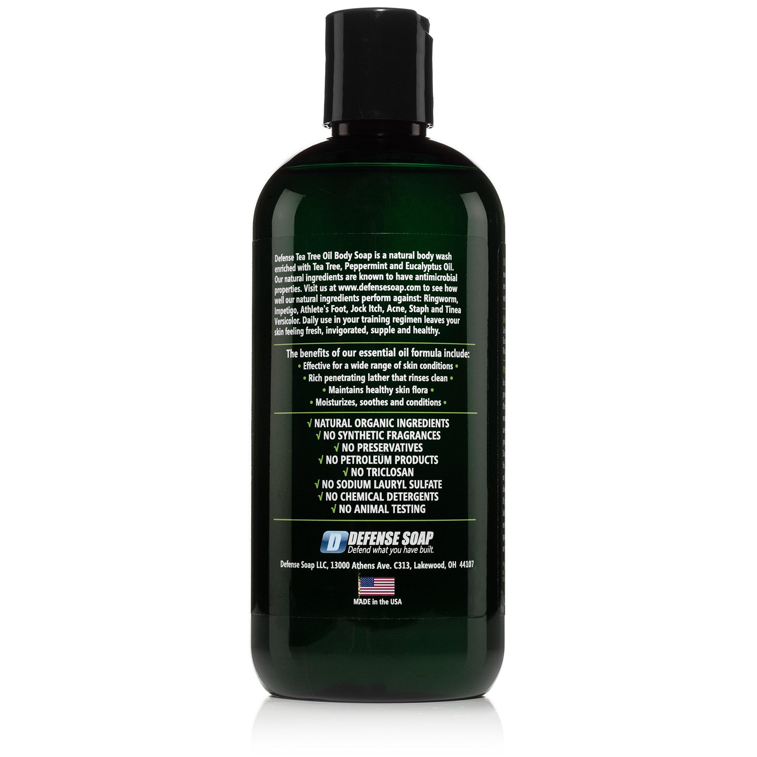 Defense Soap Peppermint Body Wash Shower Gel 12 Oz - Natural Tea Tree Eucalyptus Peppermint Oil (Pack of 2)