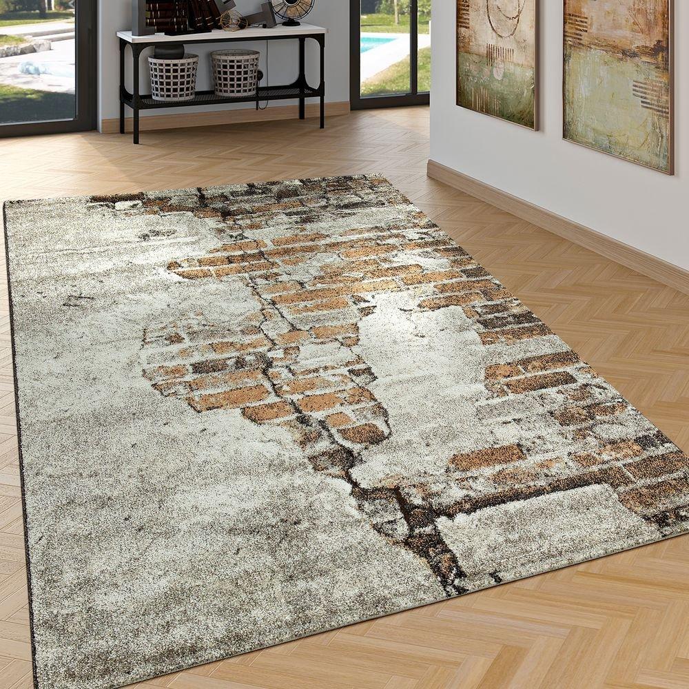 Paco Home Edler Designer Teppich Wohnzimmer Hoch Tief Effekt Backstein Optik Modern Braun, Grösse 200x290 cm