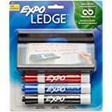 EXPO Low-Odor Dry Erase Markers, Chisel Tip, 3-Count with Marker Ledge Holder