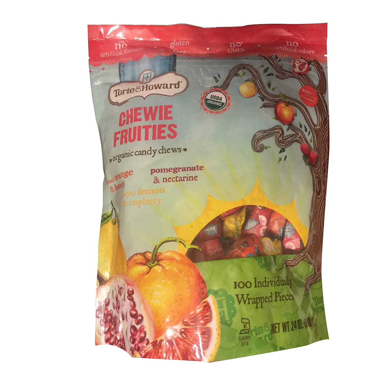 Torie And Howard Chewie Fruities | Organic Candy Chews | 100 Individially Wrapped Pieces | 24 Ounces by Torie & Howard