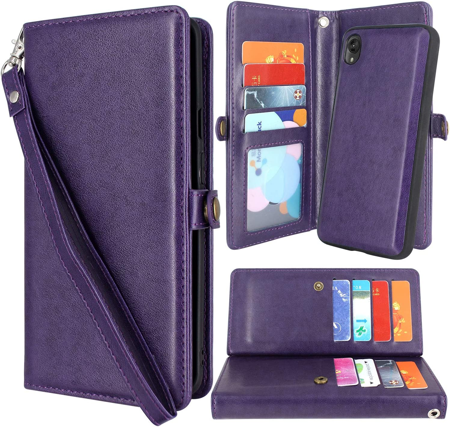 Flip PU Leather Bumper Protective Premium Wallet Card Holder Magnetic Buckle Notebook Stand Cover for Moto E6 Plus Reevermap Moto E6 Plus Case