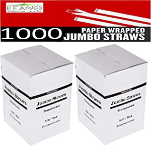 1000 Plastic Straws | 7.75 Inches (19.6 Cm) 2 X 500 Boxes Bulk Pack | Individually White Paper Wrapped Clear Drinking Straws | Disposable Jumbo Straws Flexible | Food Safe BPA Free [The Leano Line]