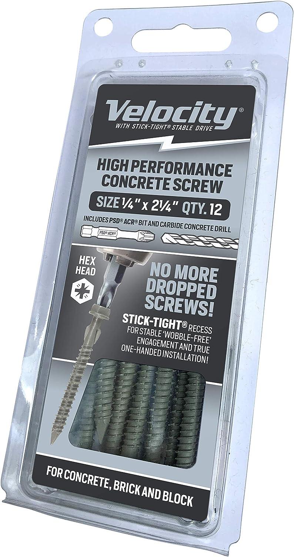 Velocity Concrete Screws Kit Includes 12 Screws Concrete Anchor Kit High Performance Hex Head Concrete Screws 1 Drill Bit and 1 Driver Bit 1//4 x 2-1//4