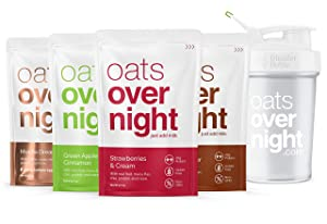 Oats Overnight - Oatmeal, Whey Protein, Rolled Oats, Low Sugar, Gluten-Free, Non-GMO, Variety Pack, 3 Ounce (8 Pack with Blender Bottle)