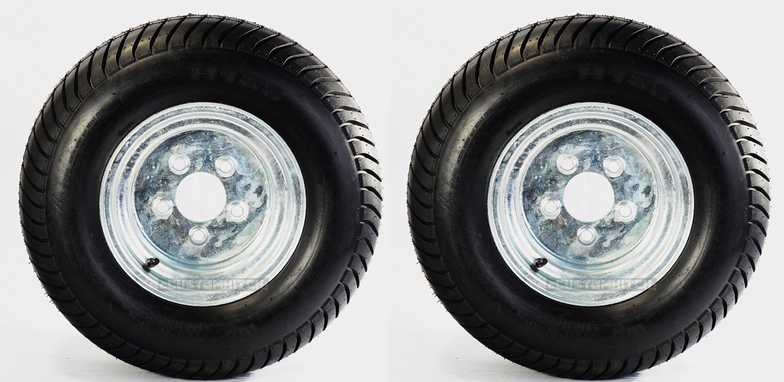Two Utility Trailer Tires Rims 20.5X8-10 205/65-10 20.5/8-10 5 Lug Range E GALV