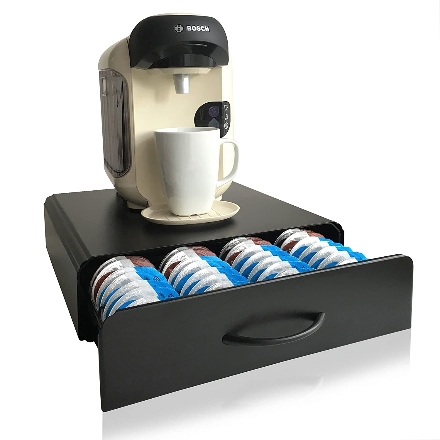 CAFE CONCETTO - Tassimo Pod Holder - T-Discs - 64psc - Coffee Capsule Storage - Machine Stand & Drawer Organiser - Anti-Vibration Design (Metal/Black)
