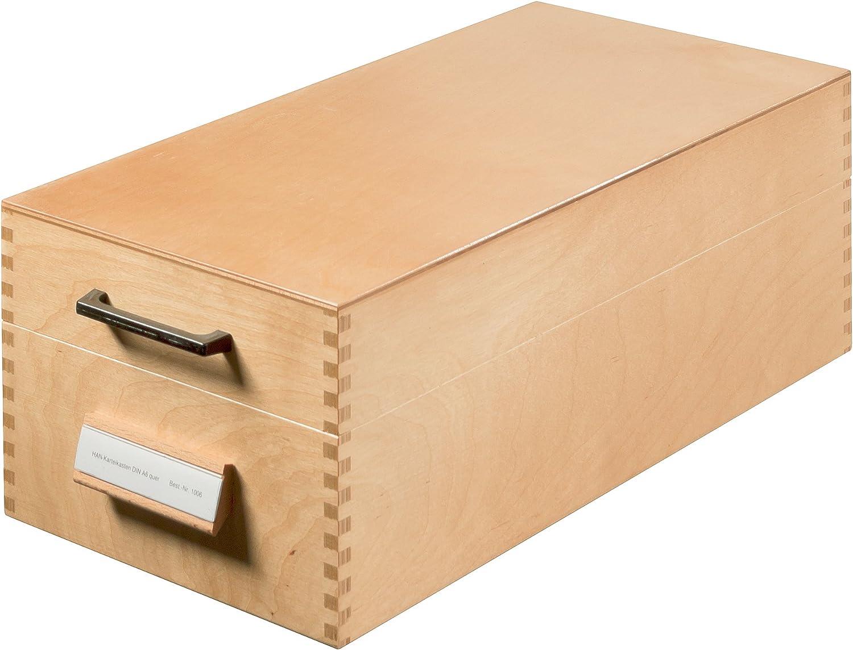 Schedario in scatola di legno Han 507 per 900 fogli formato A7 in orizzontale 150 x 110 x 250 mm