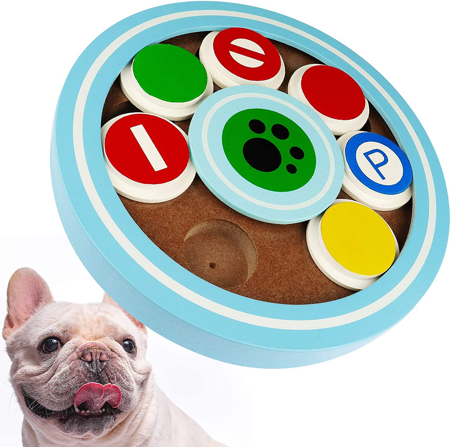 【2021 Upgraded】 Dog Puzzle Toys for Puppy Treat Training, Interactive Dog Toys for Pet, Cat & Dog Slow Feeder Food Dispenser, Dog Treat Puzzle Toy Games for Small Large Dogs (Wooden Disk)