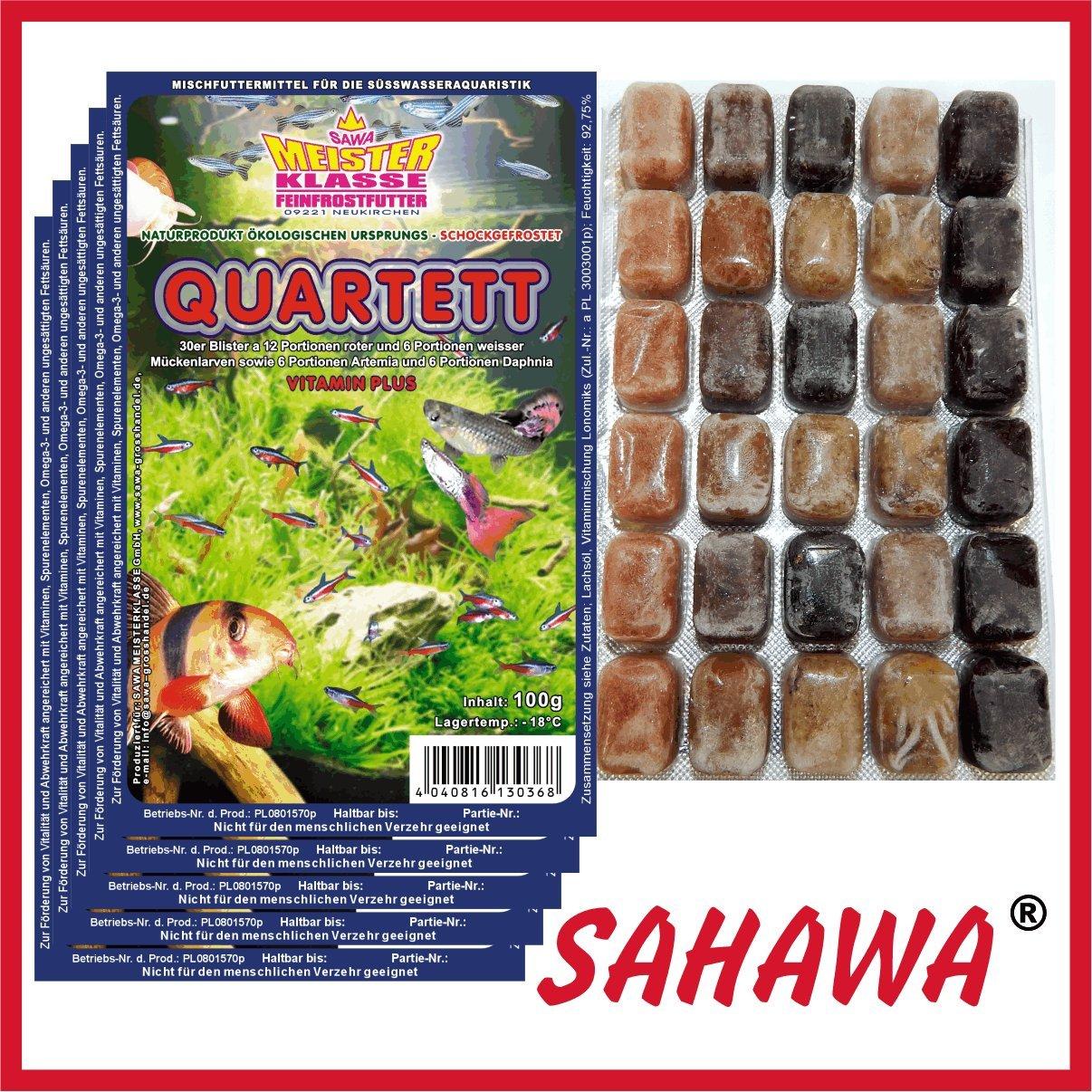 SAHAWA® Frostfutter 10 x 100g Blister Quartett + 1 Blister Daphnien gratis, verpackt mit Trockeneis -78°C, Aquarium, Aquaristik, Fischfutter, Frostfutter SAHAWA®