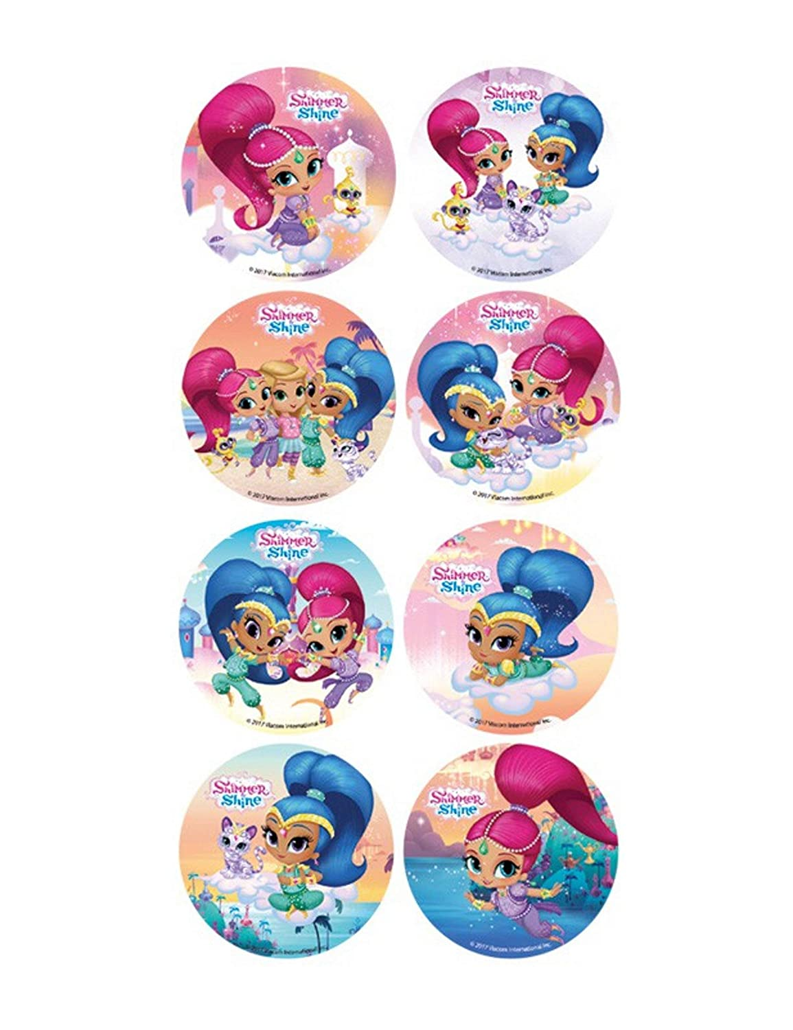 16 Mini discos de azúcar Shimmer and Shine 3,4 cm
