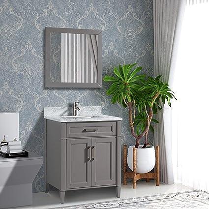 Vanity Art 24 Inch Single Sink Bathroom Vanity Set Carrara Marble Stone Soft Closing Doors Undermount Rectangle Sink With Free Mirror Va2024 G