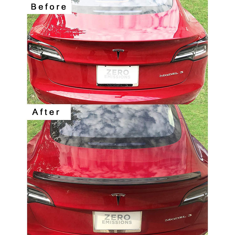 CHHMAELOVE Rear Trunk Boot Spoiler Wing Lip Tuning Carbon Fiber Bodykit For Tesla Model 3,Carbon Fiber Rear Spoiler Wing,Non-Destructive Installation Sedan Rear Trunk Wing,Black