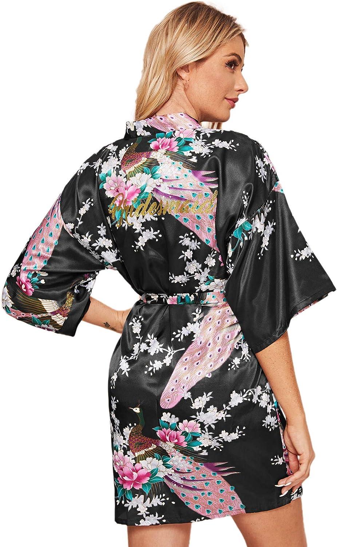 Floerns Womens Bridesmaid Satin Kimono Oblique V Neck Bathrobe Robes