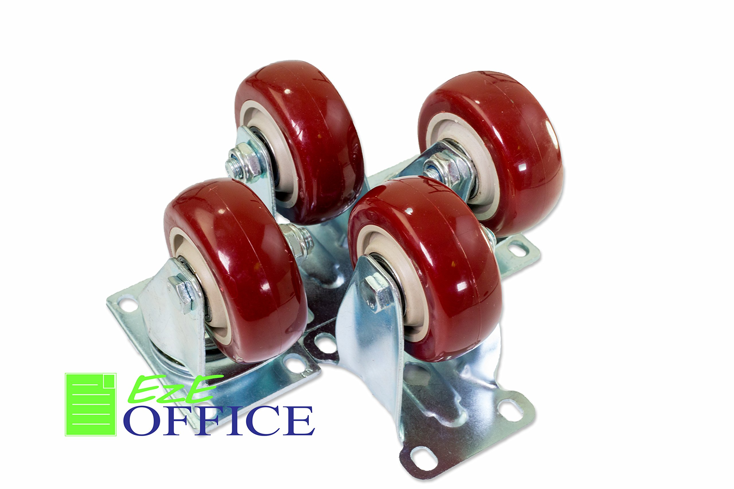 Caster Wheels 2 Swivel Casters 2 Swivel with Brake On Red Polyurethane Wheels 1200 Lbs 3 inch 4 Pack by EzE Office
