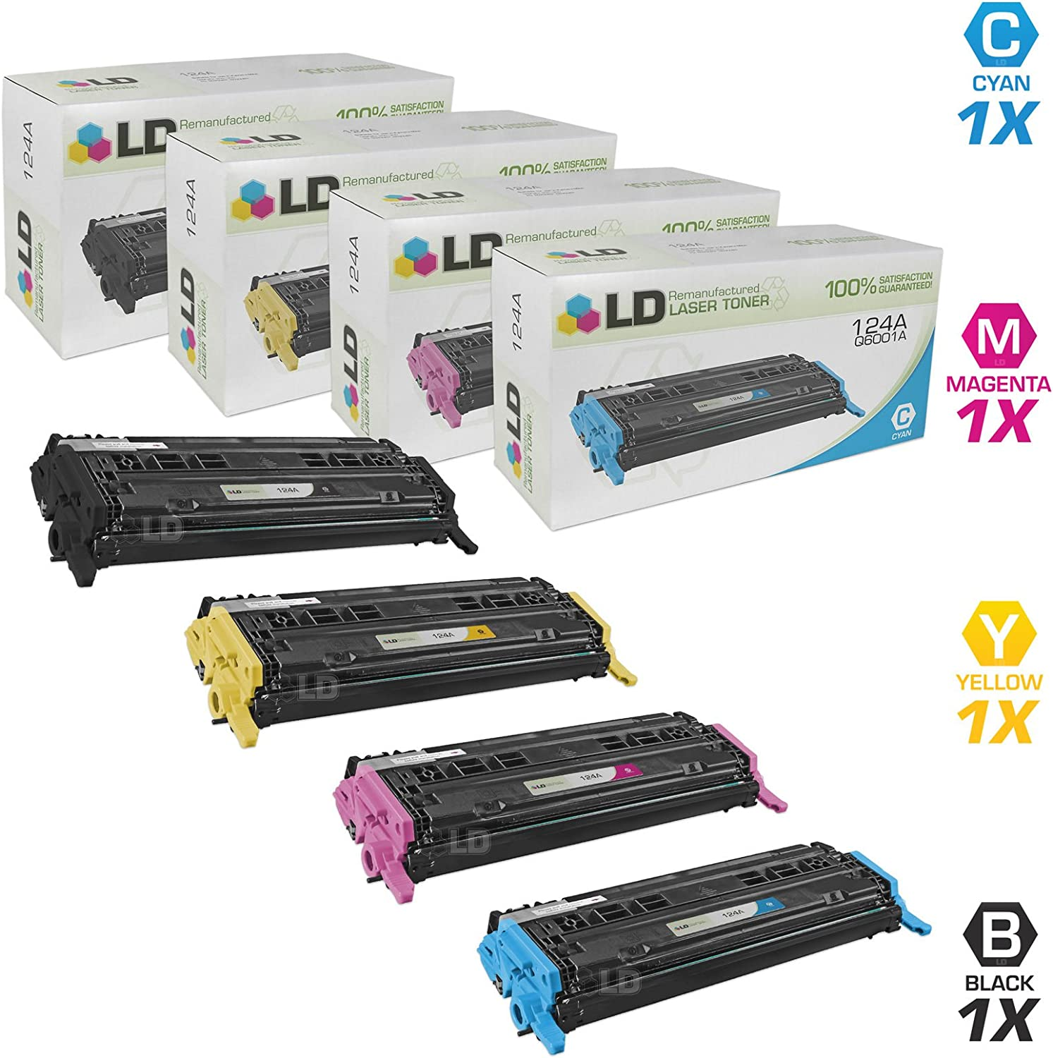 LD Remanufactured Toner Cartridge Replacements for HP 124A (1 Black, 1 Cyan, 1 Magenta, 1 Yellow, 4-Pack)