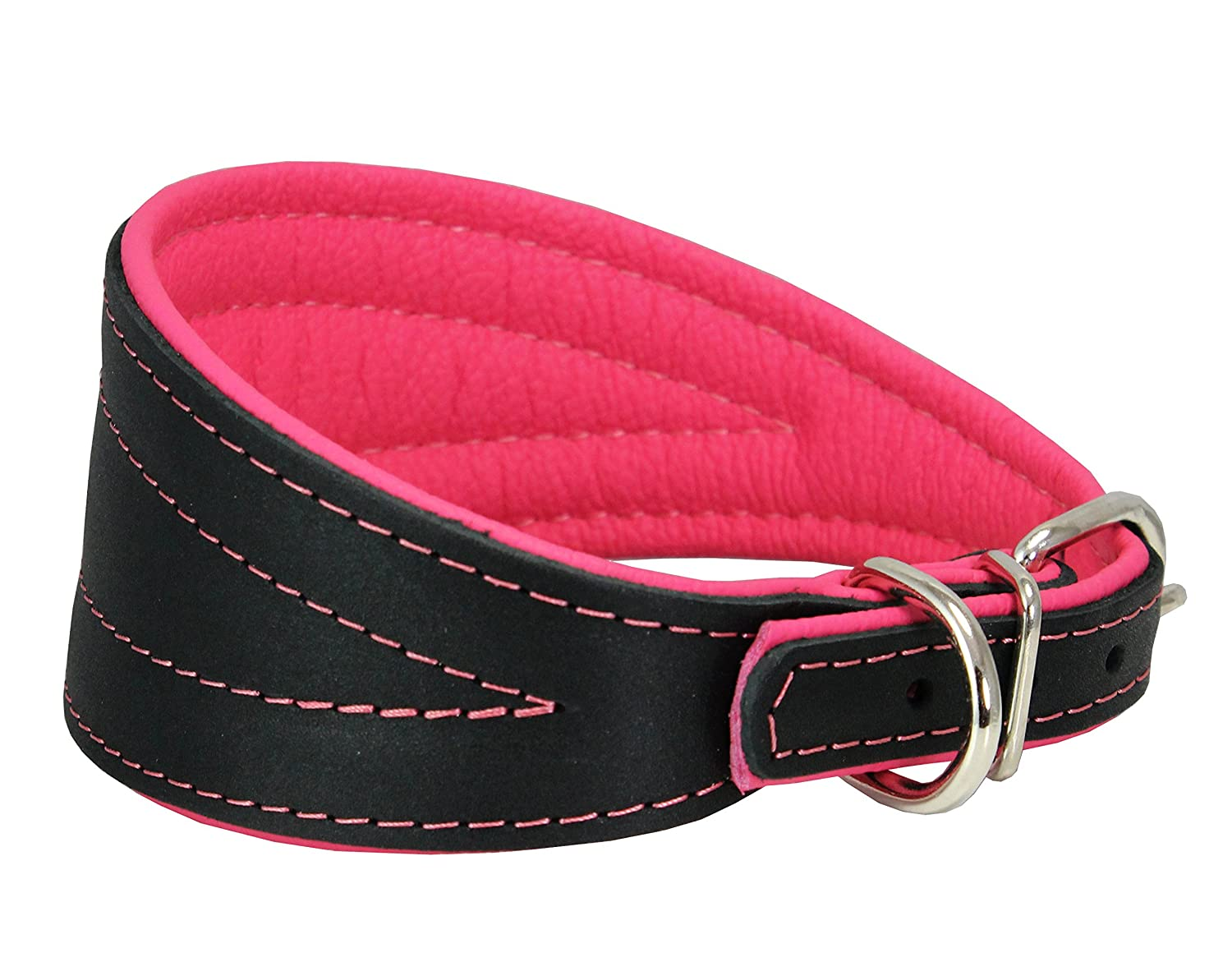 Pink 13.25\ Pink 13.25\ Real Leather Extra Wide Padded Tapered Dog Collar Glossy Black Greyhound Saluki Deerhound Lurcher Whippet Dachshund (13.25 -15.25  Neck; 2.5  Wide, Pink)