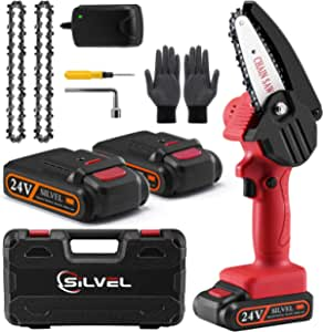Mini Chainsaw - 4 Inch 20V Mini Chainsaw Cordless, Portable Hand Chainsaw with 2 Batteries and 2 Chain, Electric Pruning Saw for Tree Trimming, Garden Pruning, Branch Wood Cutting (Red)