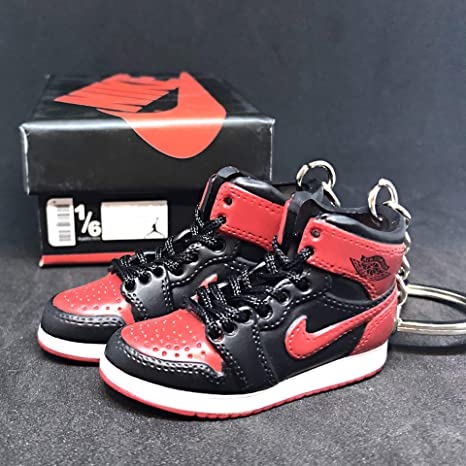 huge discount 9df94 0d1ed Image Unavailable. Image not available for. Color  Pair Air Jordan I 1  Retro High Bred Black Red OG Sneakers Shoes 3D Keychain Figure