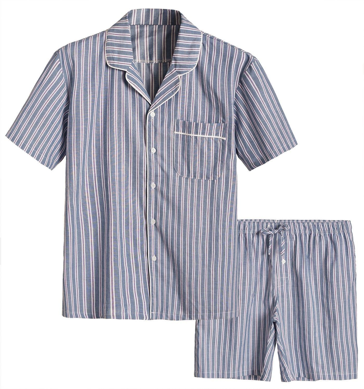 Latuza Men's Cotton Woven Short Sleepwear Pajama Set L Charcoal Stripe
