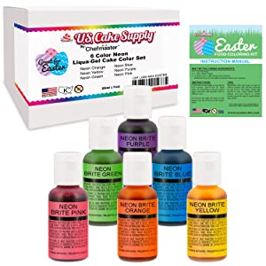 6 Color Neon Cake Food Coloring Liqua-Gel Easter Egg Decorating Baking Set - U.S. Cake Supply .75 fl. Oz. (20ml) Bottles - Safely Made in the USA product