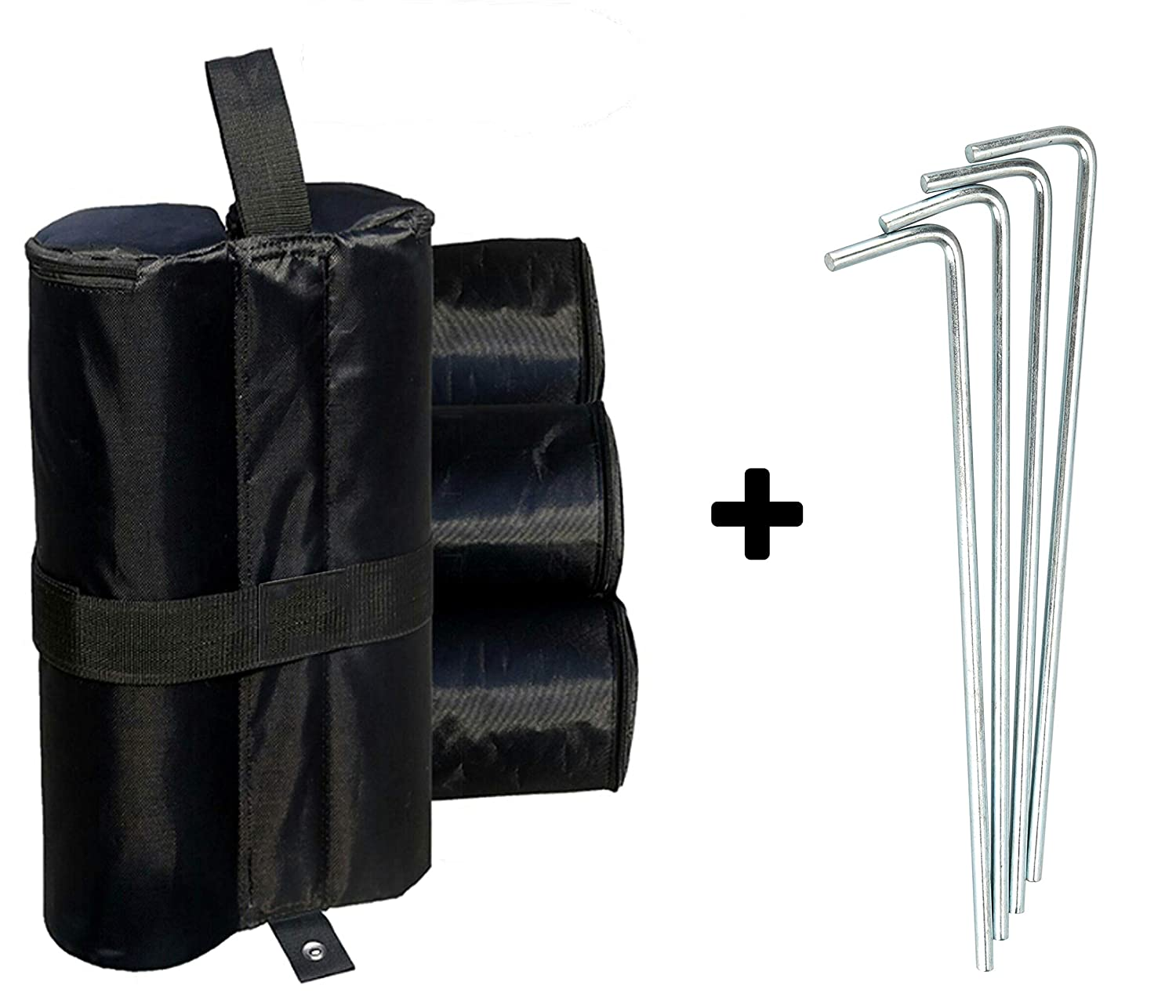 4 Pack Canopy Weight Bags, Heavy Duty Sand Bag for Tent Anchor Kit with Pegs Stakes HR-International