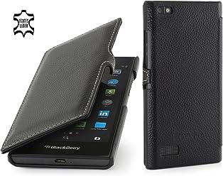 StilGut Book Type avec Clip, Housse en Cuir pour Blackberry Leap, en Noir
