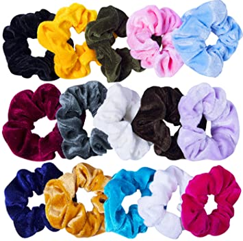 Amazon.com   15 Pcs Velvet Hair Scrunchies Scrunchy Hair Ties Elastic Hair  Bands for Women and Girls ec220f11af6