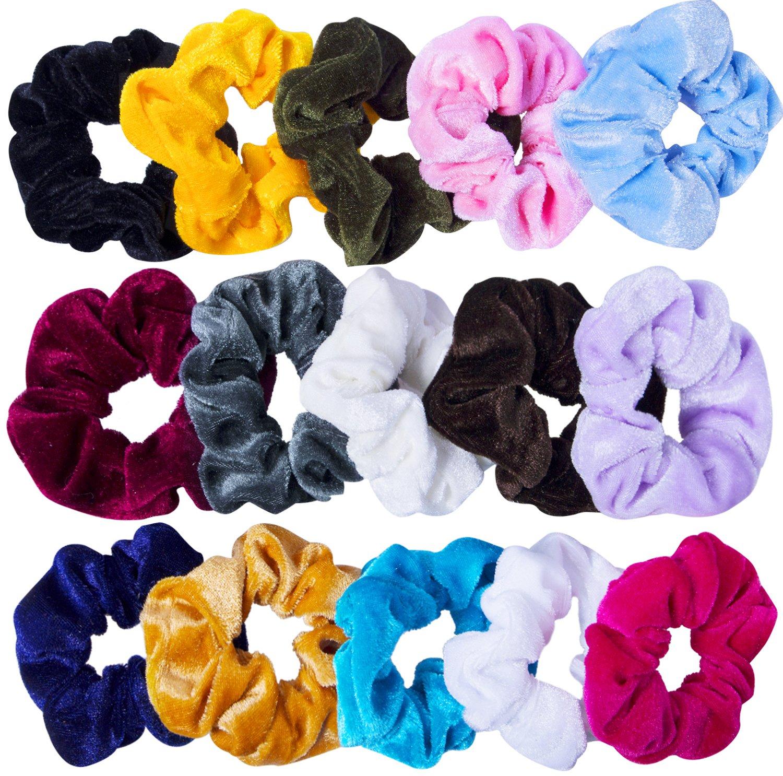 cb9d6a7c8c2 Amazon.com   15 Pcs Velvet Hair Scrunchies Scrunchy Hair Ties Elastic Hair  Bands for Women and Girls