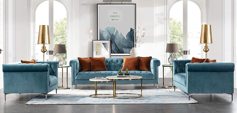 Amazon.com: Acanva Luxury Vintage Tufted Velvet Living Room Sofa