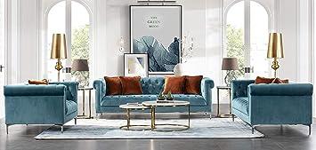 Awesome Acanva Luxury Vintage Tufted Velvet Living Room Sofa Set 3 Piece Teal Lamtechconsult Wood Chair Design Ideas Lamtechconsultcom