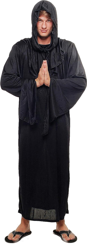 DRESS ME UP - L062/52 Disfraz Hombre Mujer Unisex verdugo brujo mago negro monje demonio culto talla 52/L