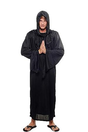 DRESS ME UP - L062/48 Disfraz Hombre Mujer Unisex verdugo brujo mago negro monje demonio culto talla 48/M