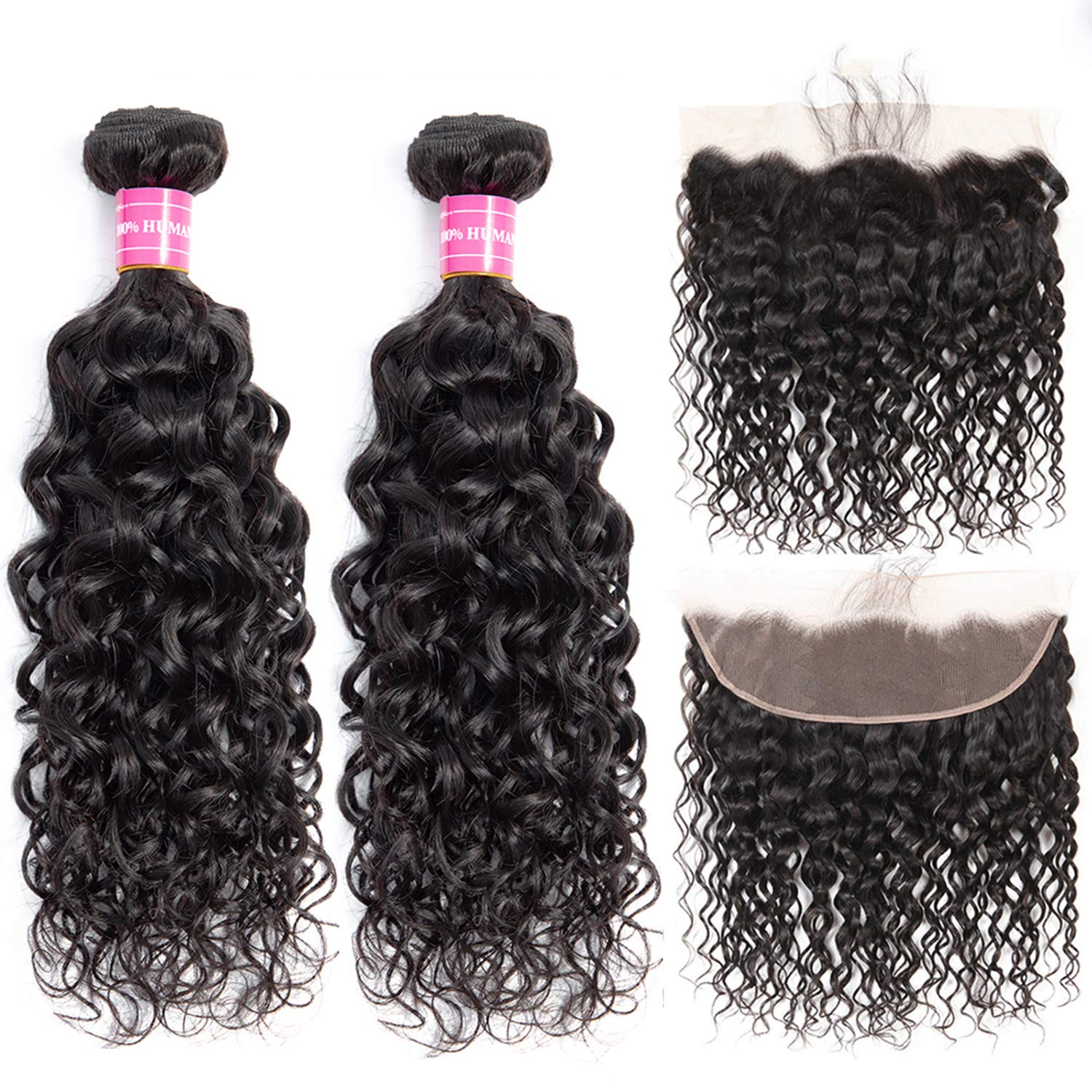 Brazilian Water Wave Bundles with Frontal 100% Virgin Human Hair Wet and Wavy 2 Bundles With Frontal Lace Closure Unprocessed 10A Hair Bundles with 13×4 Ear to Ear Frontal Natural Color(10 12+10) by PandaOne