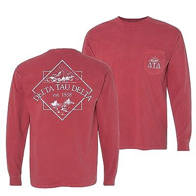 Delta Tau Delta Crimson Comfort Colors Long Sleeve Pocket Tee   .com