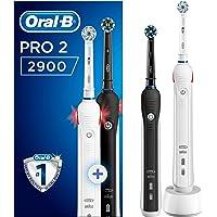 Oral-B PRO 2 2900 Elektrische Zahnbürste mit visueller Andruckkontrolle für extra Zahnfleischschutz, mit 2. Handstück, schwarz/weiß, 2 Stück