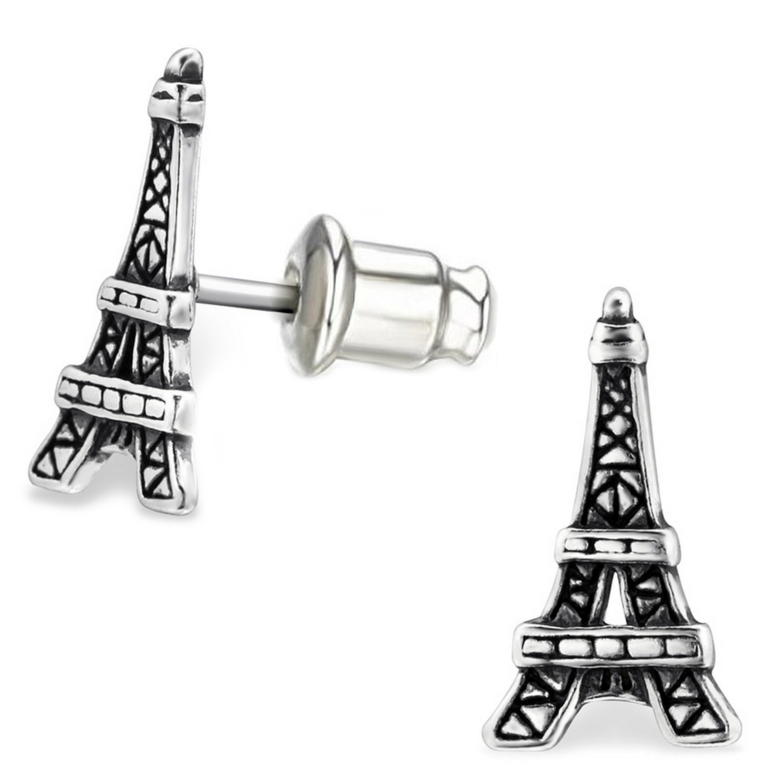 Pro Jewelry .925 Sterling Silver ''Eiffel Tower'' Stud Earrings with Bullet Clutch Earring Backs