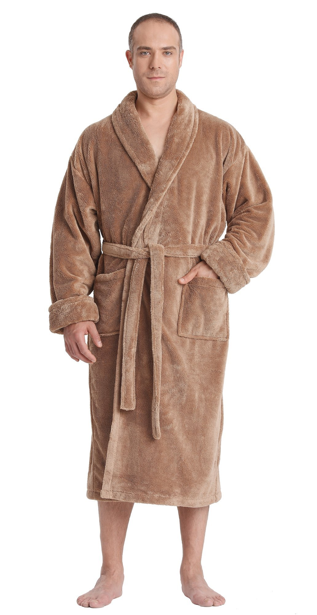 Arus Men's Satin Touch Shawl Fleece Bathrobe Turkish Soft Plush Robe Camel XXL
