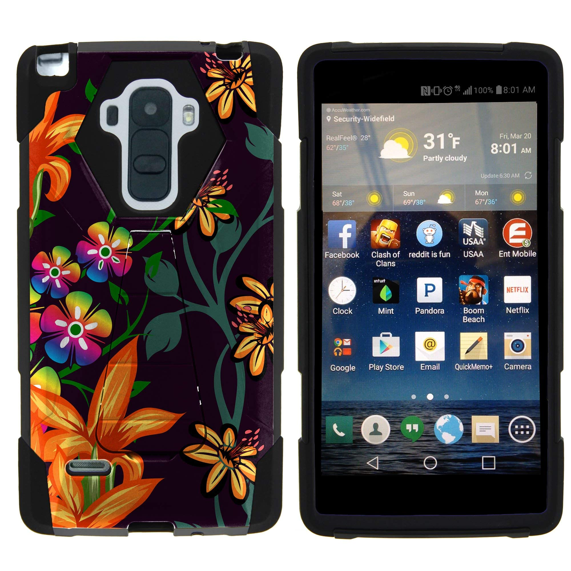 TurtleArmor   Compatible for LG G Stylo Case   LG G4 Stylus Case [Dynamic Shell] Hybrid Dual Layer Hard Shell Cover Kickstand Silicone Case - Flower 4