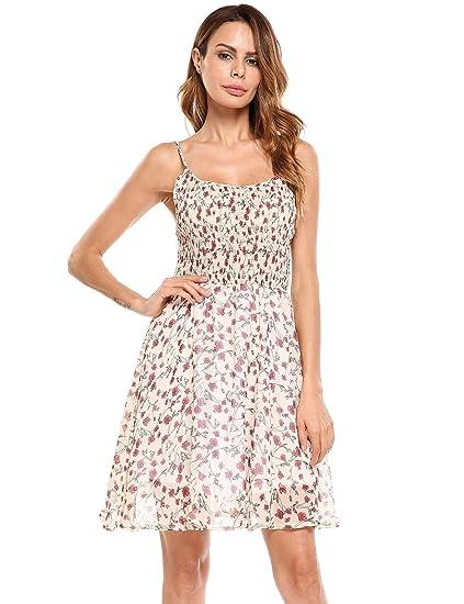 13c5ab9bed2 Onbay Elastic Floral Print Spaghetti Strap Dress Summer Chiffon Fit Flare  Dress(Beige