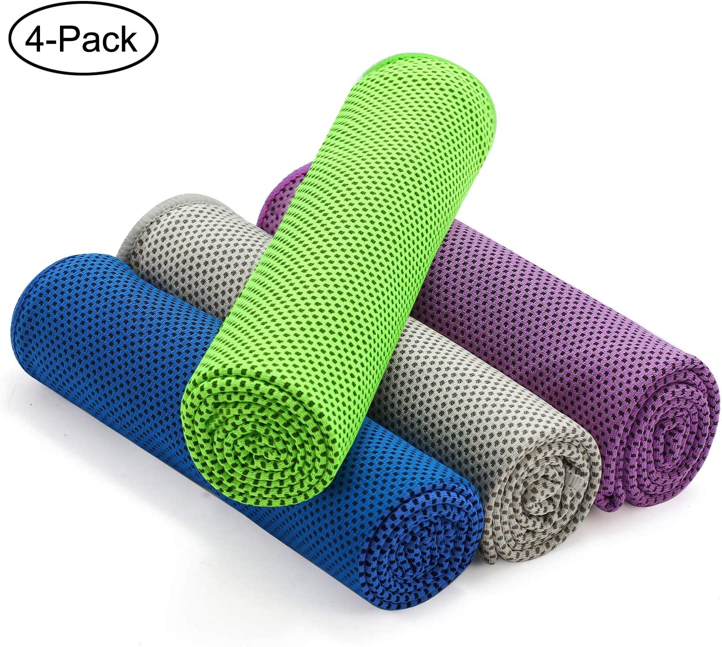 """foramor Cooling Towel 4 Packs,Ice Towel for Neck,Microfiber Towel Soft Breathable Chilly Towel 40""""x12""""for Yoga, Sports, Camping, Fitness, Gym, Workout,Camping & More"""