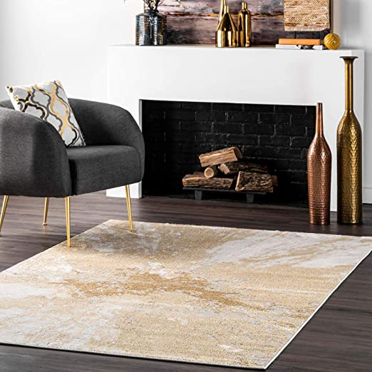 Amazon Com Nuloom Cyn Abstract Area Rug 8 10 X 12 Gold Furniture Decor