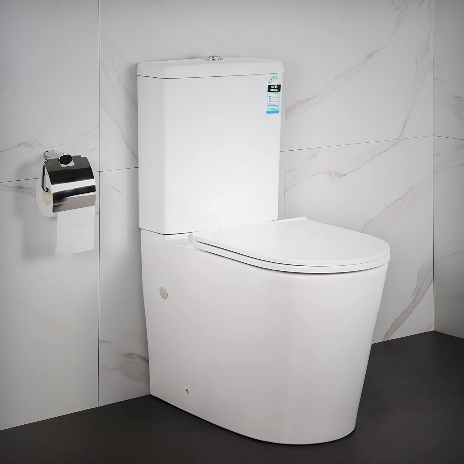 Back to Wall Toilet Close Coupled WC White Ceramic Soft Close Seat Rimless Modern Design Flush to Wall Concealed Pipe Work