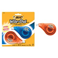 BIC Wite-Out Brand EZ Correct Correction Tape, White, 2-Count