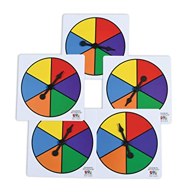 Learning Advantage Six-Color Spinners - Set of 5 - Game Spinner – Write On/Wipe Off Surface for Multiple Uses: Industrial & Scientific